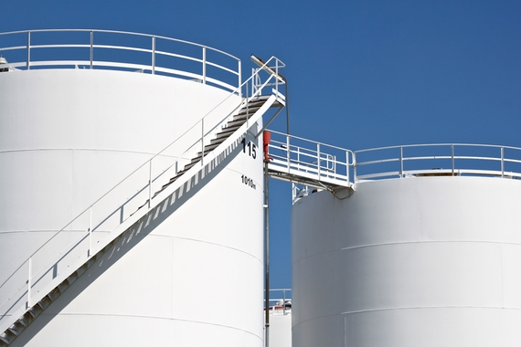 Picture of an array of storage tanks in a refinery